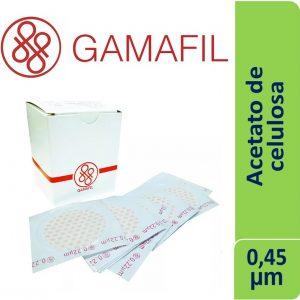 Membranas ACETATO DE CELULOSA. blancas lisas, no estériles de 0,45 um – 13 mm x 100 ud Gamafil