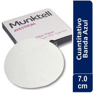 Papel de filtro cuantitativo 00H Banda Azul Filtración Lenta7.00 cm 100 ud Munktell
