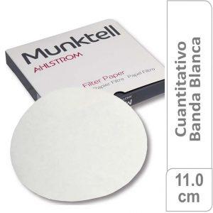 Papel de filtro cuantitativo (sin cenizas – máximo 0.007%), filtracion media rapida, 110 mm diam. 100 ud Munktell