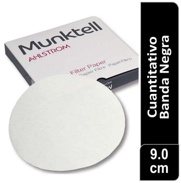 Papel de filtro cuantitativo 00R Banda Negra Filtracion rápida 9.00 cm 100 ud Munktell