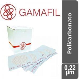 Membranas POLICARBONATO. blancas lisas, no estériles de 0,22 um – 47 mm x 100 ud Gamafil