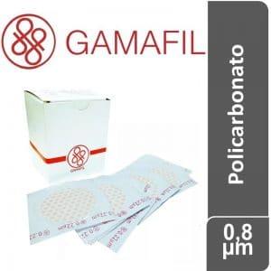 Membranas POLICARBONATO. blancas lisas, no estériles de 0,8 um – 13 mm x 100 ud Gamafil