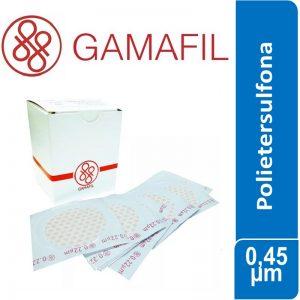 Membrana POLIETERSULFONA. blancas lisas, no estériles de 0,45 um – 47 mm 100 ud Gamafil