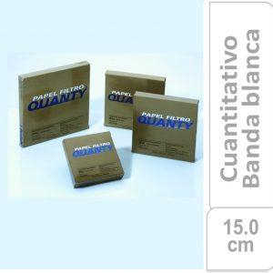 Papel de filtro cuantitativo. filtrado medio, JP 40 Banda Blanca Cajas originales x 100 hojas, 150 mm. Ø JP (Brasil)