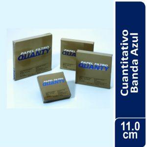 Papel de filtro cuantitativo. filtrado lento, JP 42 Banda Azul Cajas originales x 100 hojas, 110 mm. Ø Marca QUANTY (Brasil)