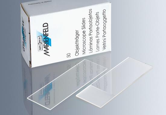 Portaobjetos borde esmerilado 25 x 75 mm (Caja x 50 unidades) Marienfeld-Superior (Alemania)