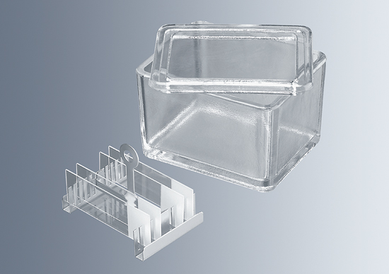 Cubeta de tincion vidrio prensado con tapa para soportes Marienfeld-Superior (Alemania)