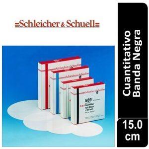 Papel de filtro cuantitativo. filtrado rápido, Nº 589-1 Banda Negra Cajas originales x 100 hojas, 150 mm Ø SCHLEICHER & SCHUELL