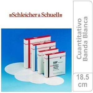 Papel de filtro cuantitativo. filtrado medio, Nº 589-2 Banda Blanca Cajas originales x 100 hojas, 185 mm Ø SCHLEICHER & SCHUELL